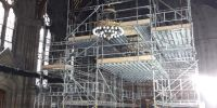 Scaffolding is erected