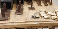Sw Double Diapason 16' stoppers being re-leathered
